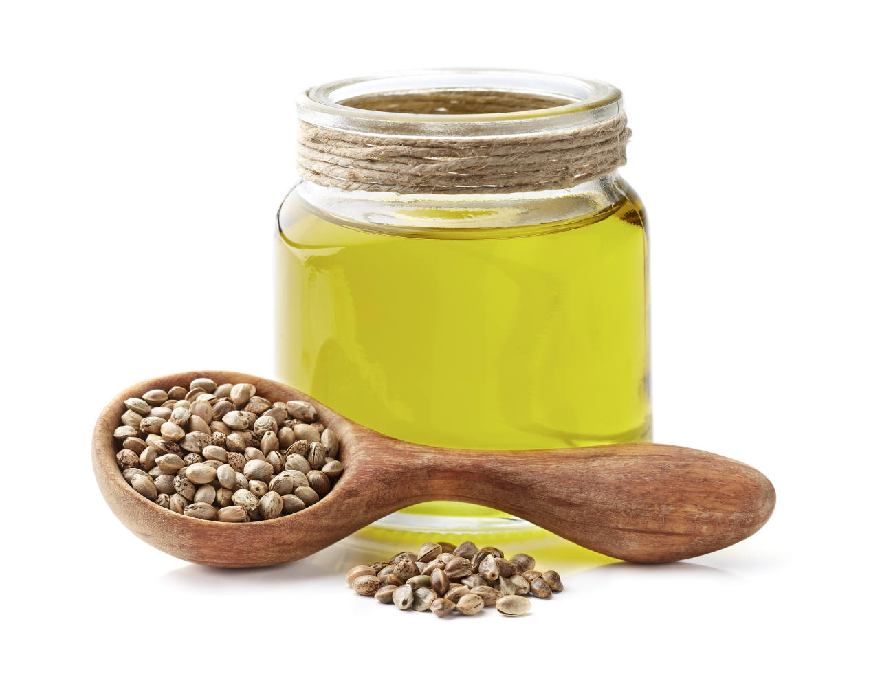 a jar of hemp oil for hair that is extracted from hemp seeds