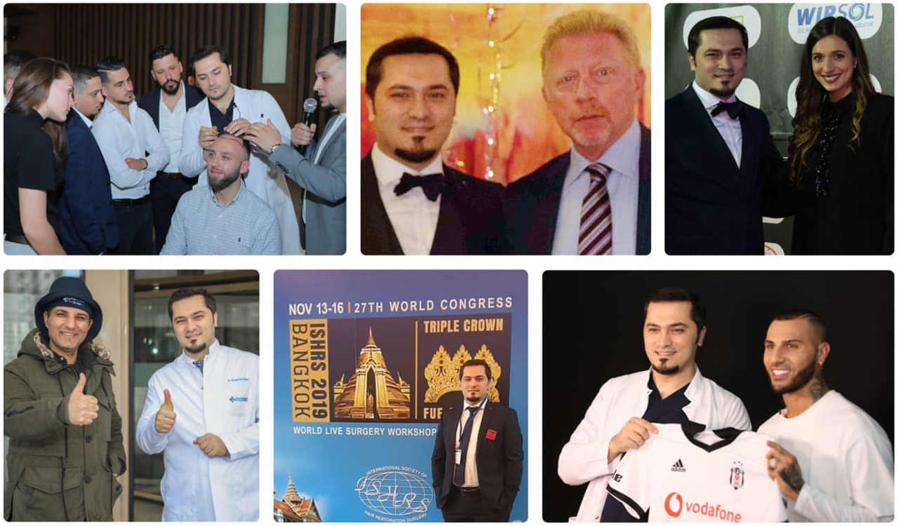 A collage of Dr Balwi with his celebrity patients