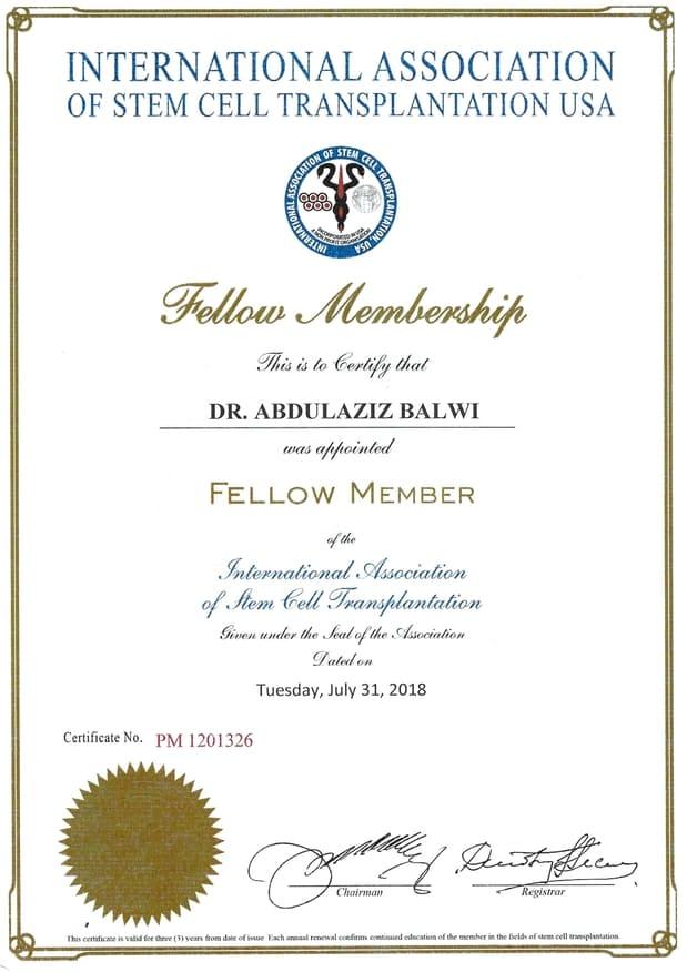 Elithair Certificate for Stem Cell Association