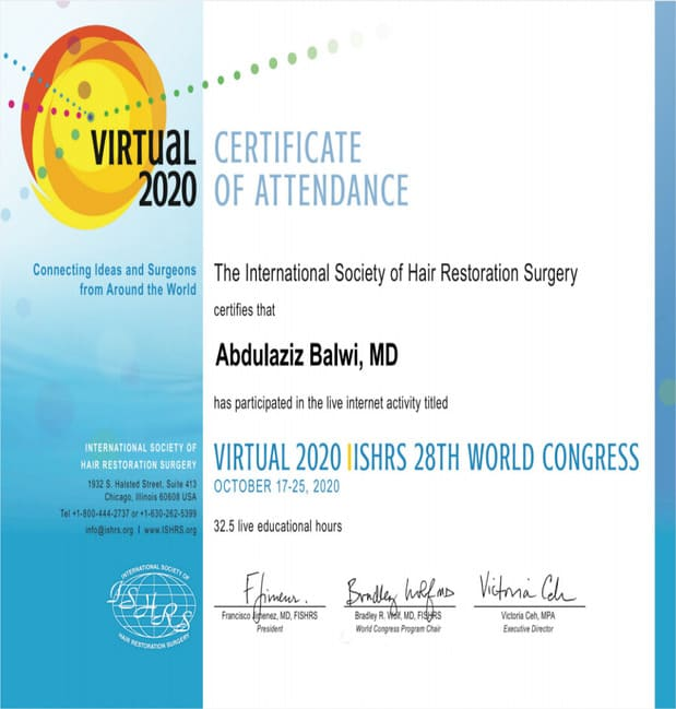Elithair Certificate of Participation 28 ISHRS World Congress